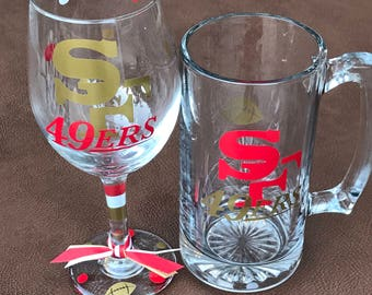 San Francisco 49ers Glassware, Football, Sports Glassware, Go 49ers! SF 49ers Gifts