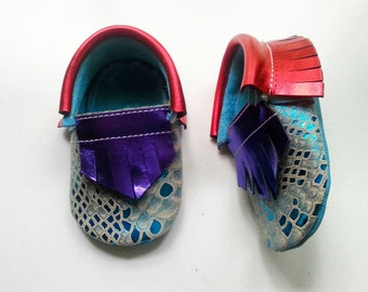 Baby Shoes - Little Mermaid insired moccs - baby moccasins - leather moccasins - baby girl shoes - soft sole baby shoes - dress up