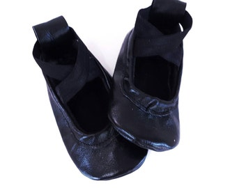 ballet shoes - Black Ballet Flats - baby shoes - toddler shoes - leather shoes - kids shoes - baby shower gift - soft sole baby shoes
