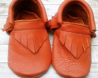 Pumpkin orange moccs - baby toddler moccasins mocs