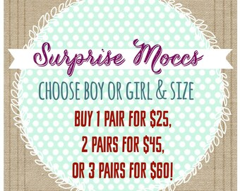 Baby Moccs - Surprise Moccs Grab Bag - baby shoes - toddler shoes - leather shoes - crib shoes - surprise - grab bag - baby shower gift