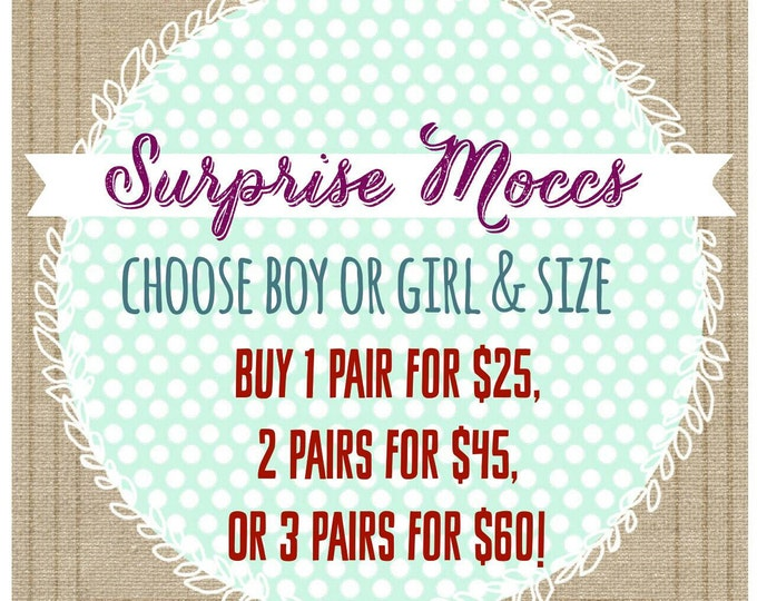 Baby Moccs - Surprise Moccs Grab Bag - baby shoes - toddler shoes - leather shoes - crib shoes - surprise - grab bag - baby shower gift