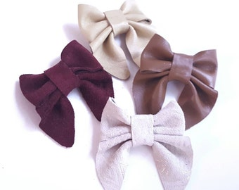 Leather Bow - cranberry red, eggnog , gingerbread brown, and white christmas -  hair clips - classic girl