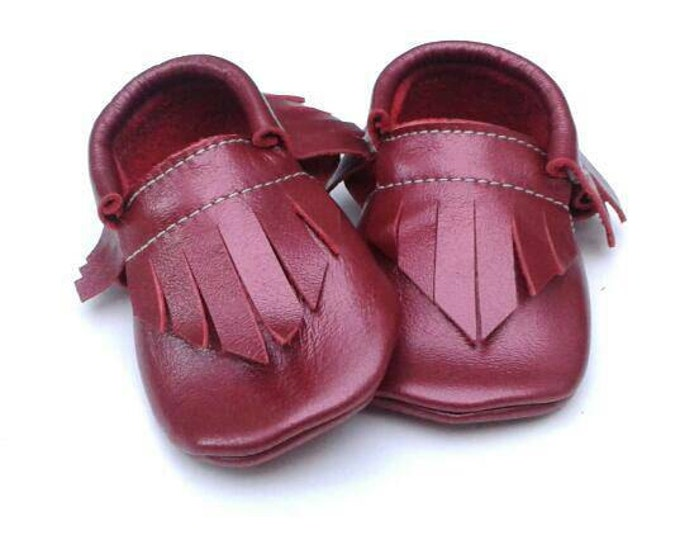 Baby Moccs - Jolly Velvet Berry red holiday moccs - moccasins - kids shoes - toddler shoes - baby shoes - leather shoes - christmas shoes