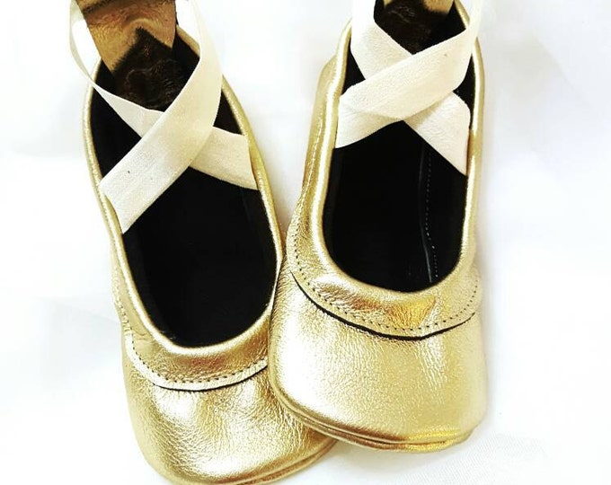 Gold Leather moccs - Ballet Flats - baby girl moccs - girl shoes - toddler shoes - leather moccs - leather baby moccs - baby shower gift