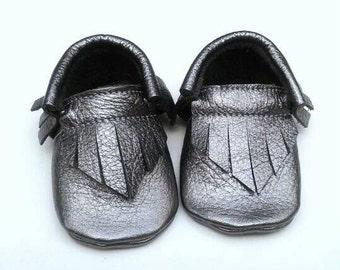 Metallic Gunmetal moccs - baby toddler moccasins