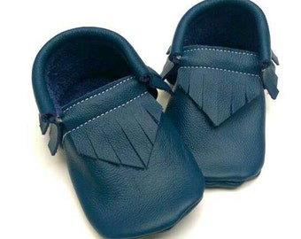 Baby boy shoes - Ocean Blue moccs - toddler shoes - kids shoes - leather moccs - baby moccs - crib shoes - moccasins -baby shoes - baby gift
