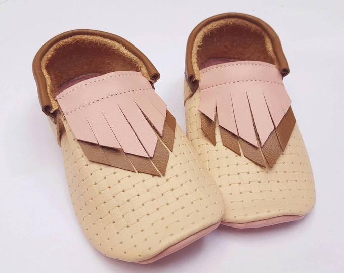 Boho moccs- pink brown and ivory weave double fringe Moccs -- baby girl shoes - baby moccs - toddler moccasins -  baby booties - crib shoes