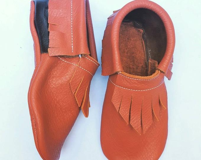 Baby Shoes  - Burnt Orange and Dark Chocolate Brown moccs - kids shoes - leather shoes - leather moccs - moccasins - toddler moccs
