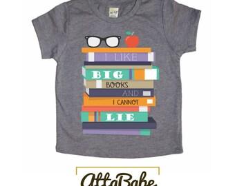 Back to School Tee - Youth - I Like Big Books & I Cannot Lie Kids T-shirt - Funny Kids shirt, Kids Graphic Shirt, Cute Kids Shirt, Kids Tee
