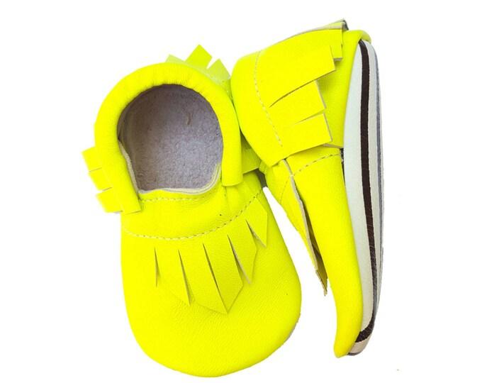 Neon Yellow Moccs - Black & White stripe soles - baby girl boy toddler moccasins mocs booties crib shoes