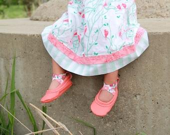 Coral Floral Ballet Flats leather baby shoes - Baby shoes - easter shoes - moccasins - baby girl shoes  - toddler shoes - moccs - soft soles