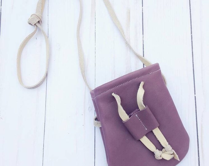 Mauve Purple Treasure Pouch - toddler purse - boho purse - coin pouch - purse - kid purse - leather pouch