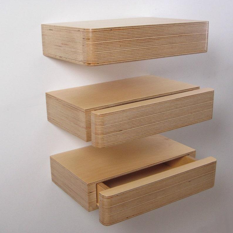 Zwevende Plank Met Lades.Set Van 3 Pacco Zwevende Lades In Natuurlijke Berk Ply Etsy