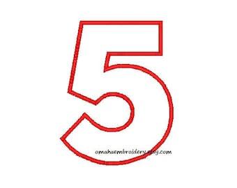 Number 5 Applique - Block Font - Machine Embroidery Design - 5 Sizes - Instant Download Design