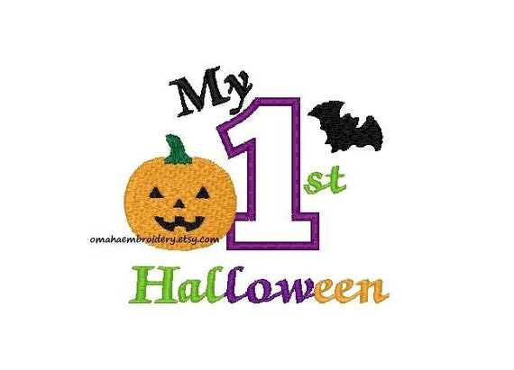 My First Halloween Machine Embroidery Design - 3 Sizes - Instant Download Design