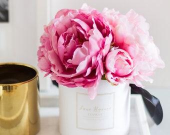 1pc Huge Pink Fuchsia Peonies Mini Floral Box Set Silk Flower Etsy