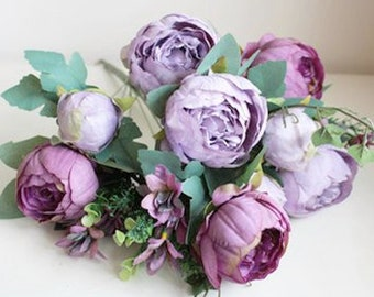 Purple peonies etsy 12pcs vintage purple peony peonies silk flower silk flowers for diy wedding rustic bridal bouquet boutonniere corsage home deco mightylinksfo