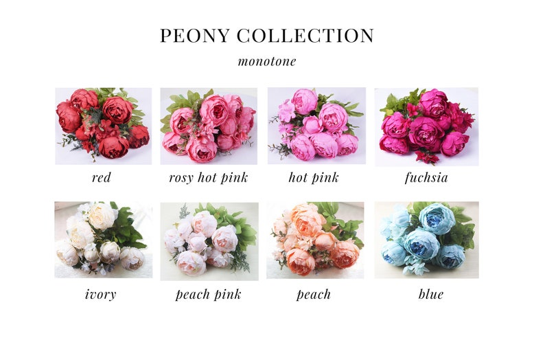 13pcs Ivory White Peony Peonies Silk Flowers Artificial Flowers for DIY Wedding Bridal Bouquet Add-on flowers Boutonniere home decor P13