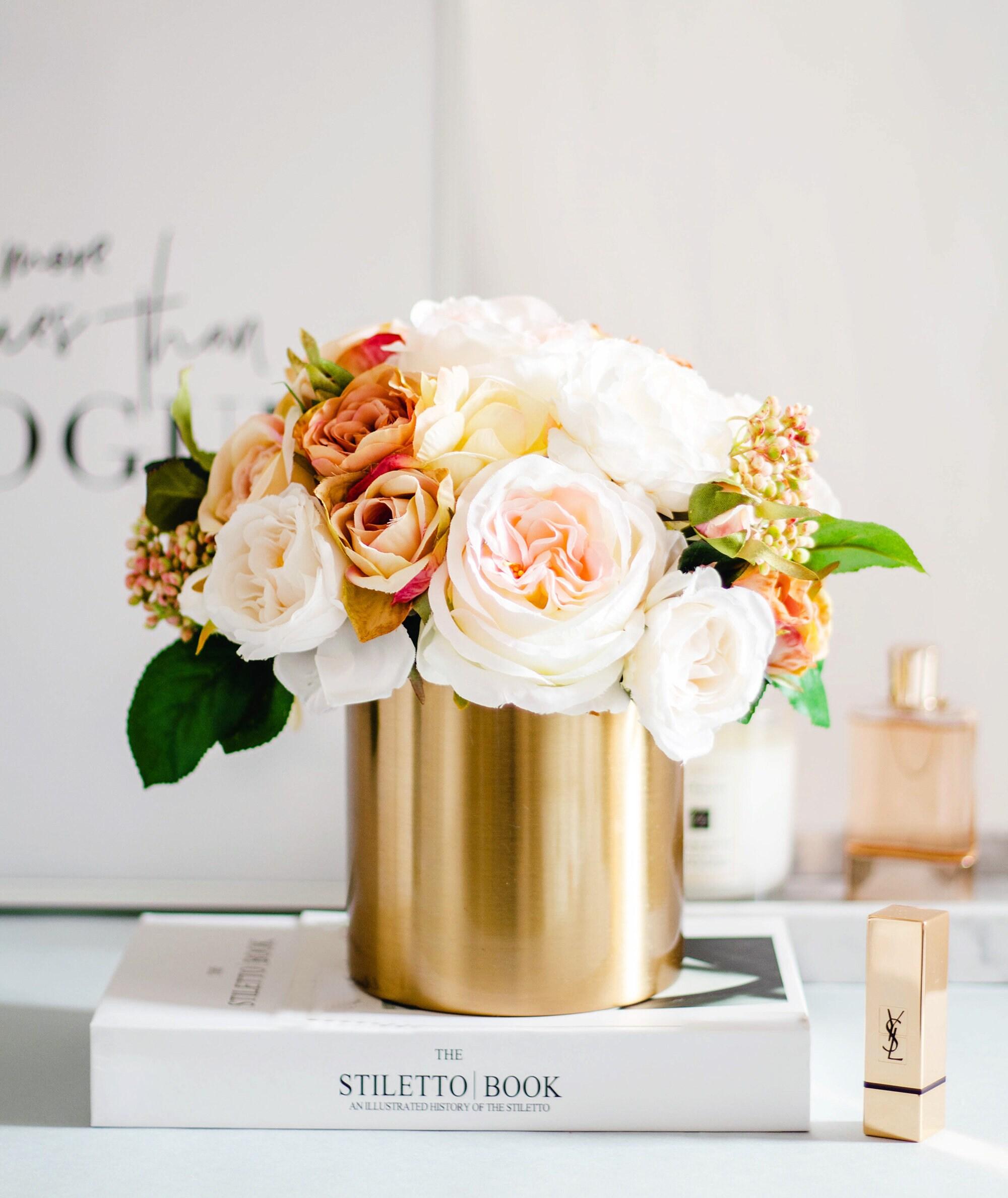 1pc Peachy White Champagne Garden Roses Silk Flower Etsy