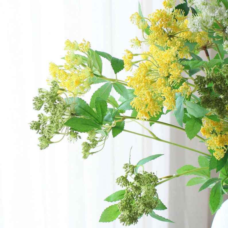 5pcs 25pcs Yellow  Green Lace Flower Artificial Flowers Fillers Real Touch Silk Flower Silk Flowers DIY Wedding Bridal Bouquet Home Deco