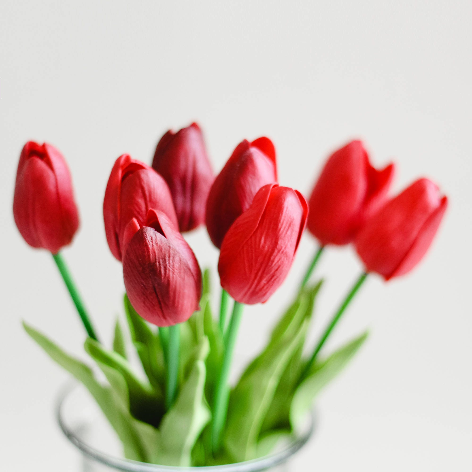 8pcs 32pcs Red Mini Tulip Tulips Real Touch Silk Flower Pu Etsy