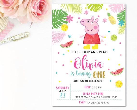 Customized Peppa Pig Digital Printable Birthday Invitation
