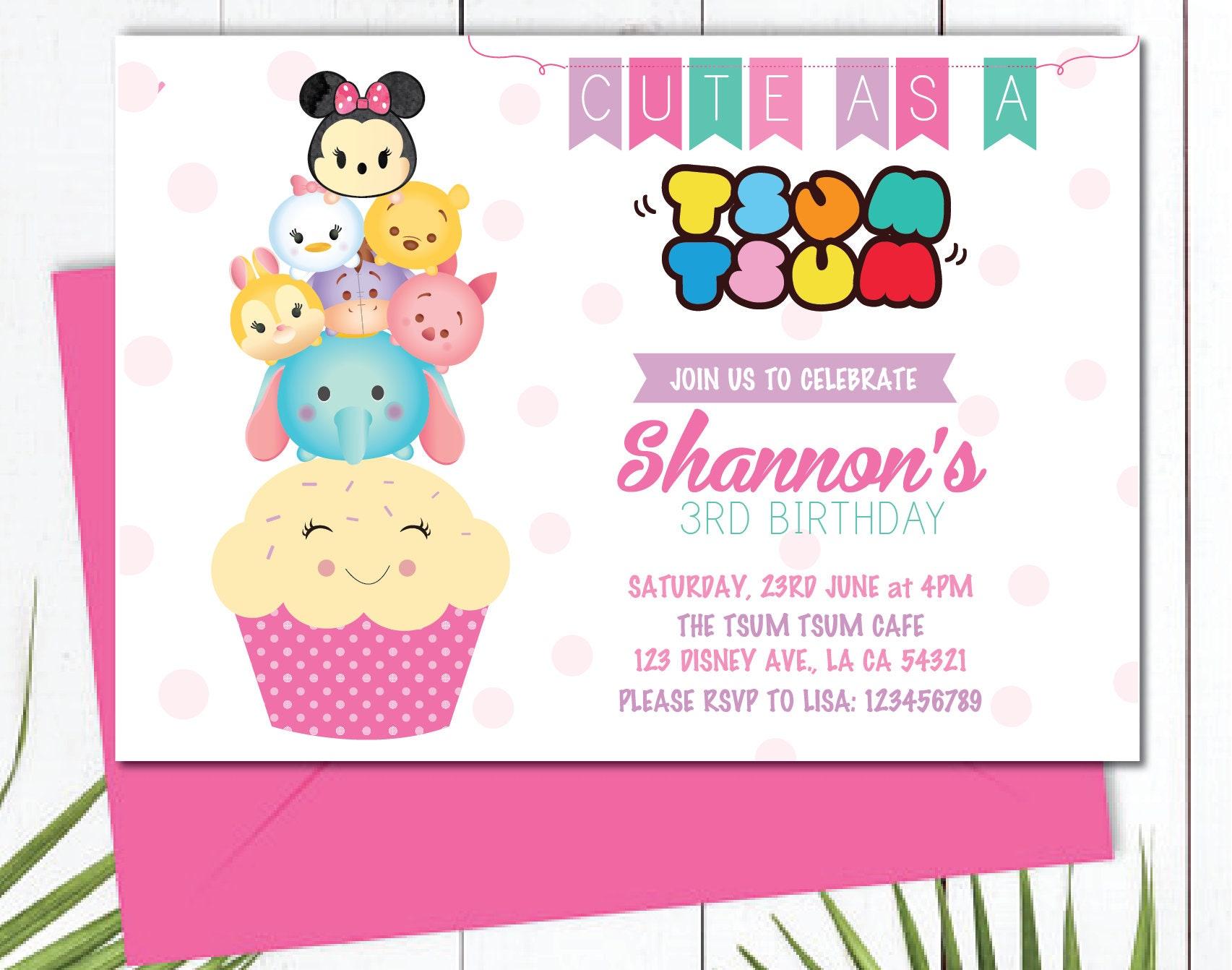 Customized Disney Tsum Tsum Birthday Invitation