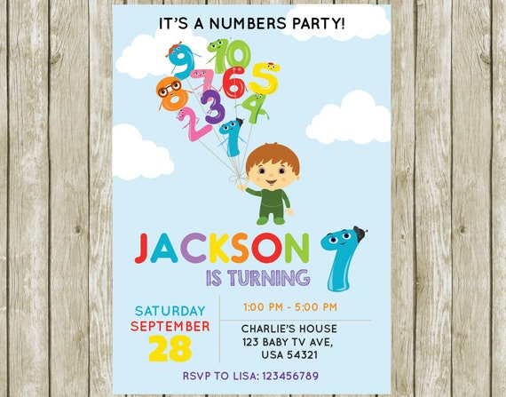 Customized Charlie And The Numbers Birthday Invitation