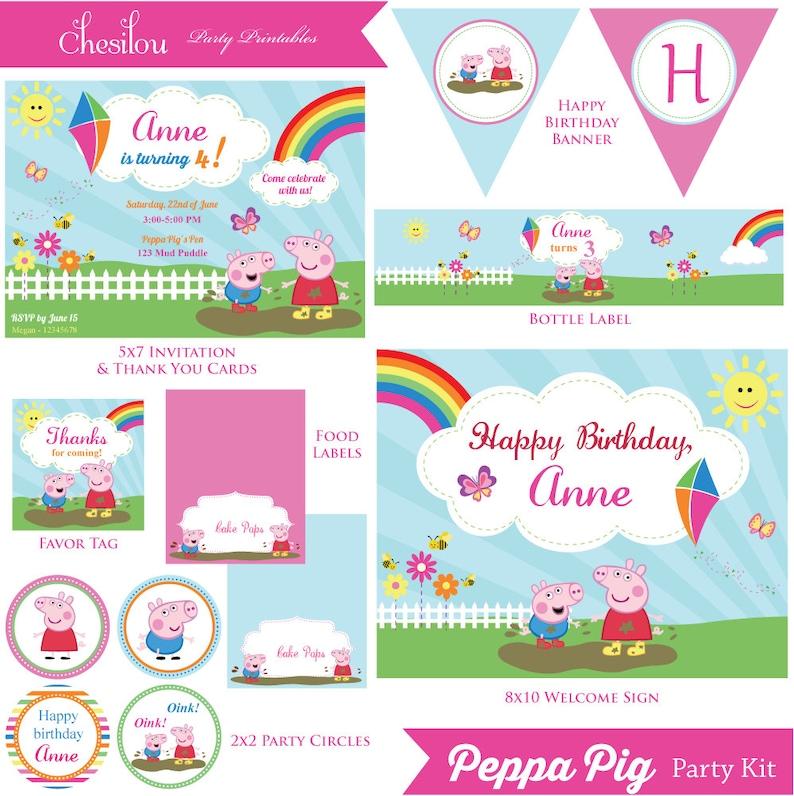 Customized Peppa Pig Digital Printable Birthday Invitation And