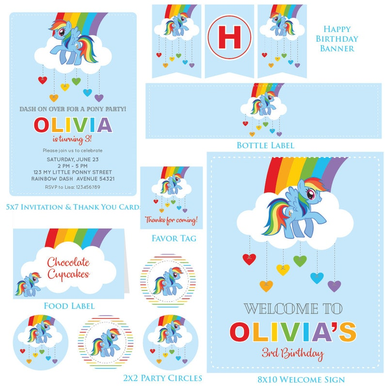 Customized Rainbow Dash Digital Printable Birthday Invitation