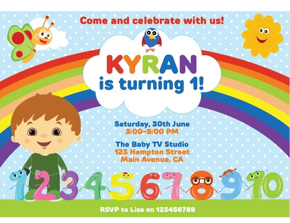 Customized Baby TV Digital Printable Birthday Invitation