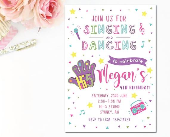 Customized Hi 5 Printable Birthday Invitation