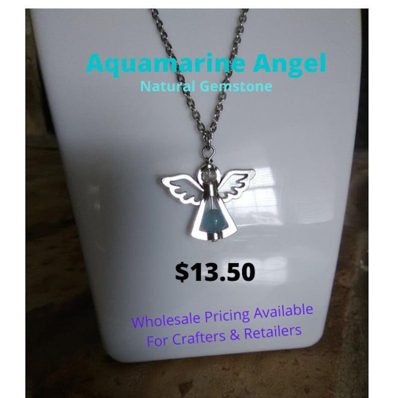 Aquamarine Angel Necklace gemstone jewelry, genuine aquamarine