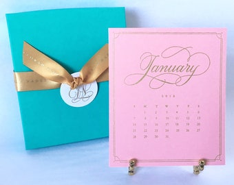 On Sale! 2018 Desk Calendar with Easel-Gold and Pink with Elegant Hand Lettering