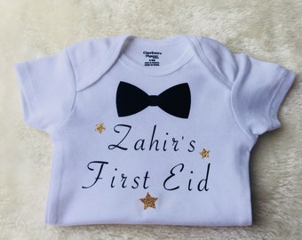 6e78a496f Personalized first Eid onesie - My first Eid baby boy onesie - bow tie Eid  outfit - customized outfit - Eid Mubarak bodysuit - First Eid one