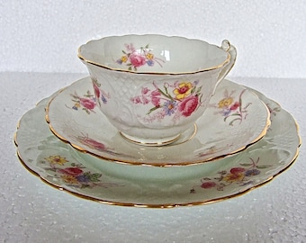 Vintage Embossed Floral Trio Teacup Saucer and Side Plate Unmarked Stunning