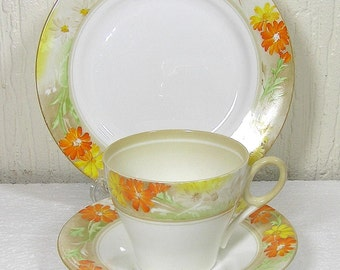 Art Deco Shelley Regent Shape Trio Cup Saucer, Side Plate in the 12496 Pattern 1936  reg nr 795072  in Very Good Condition