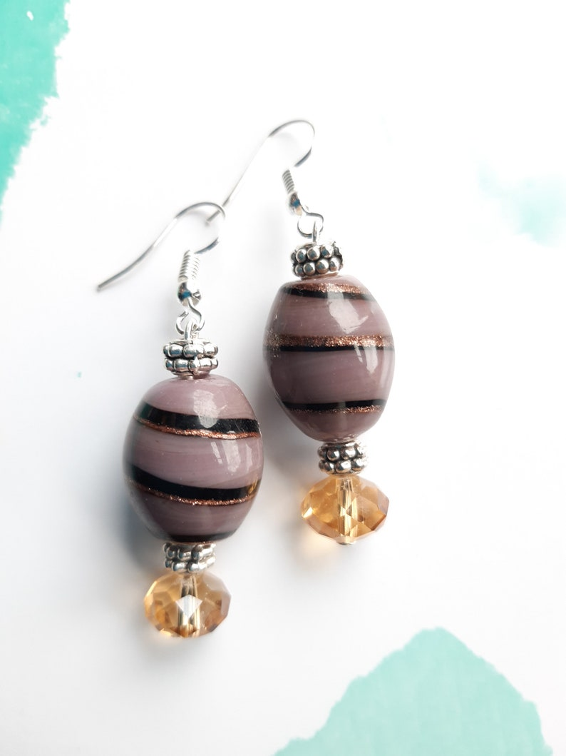 Purple Spiral Glass Beads Earrings