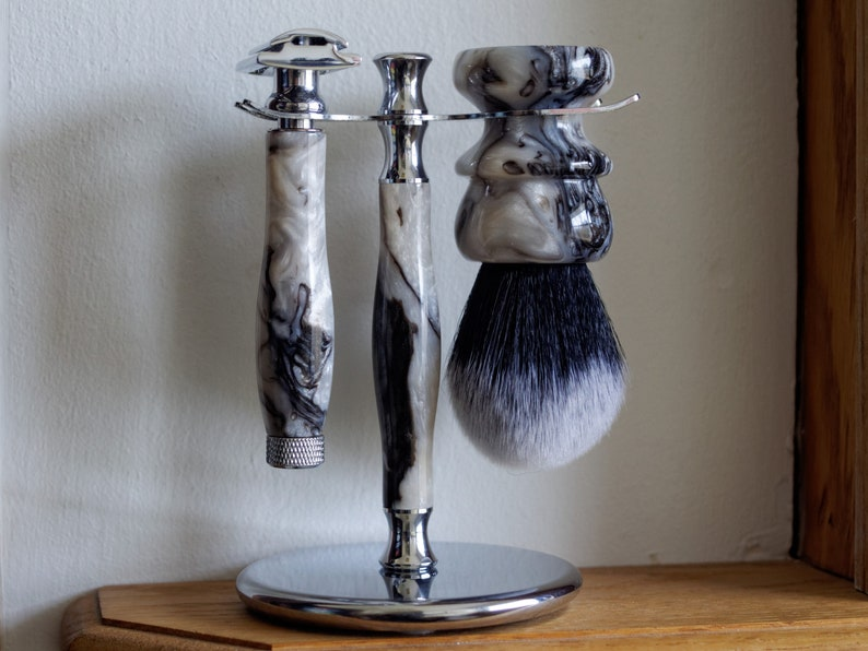 Shaving Set  Hand-Made With Faux Marble Resin and a Choice of image 0