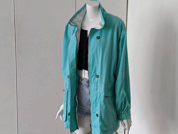 Vintage 90s Coat/Women's Turquoise Coat/Vintage 90