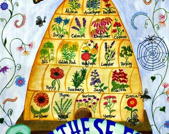 """11"""" x 14"""" Plant These For Bees Poster-Glossy"""