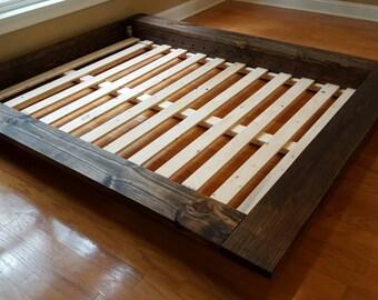 Platform Bed Low Profile Bed Ava Solid Wood Bed Bed Frame Etsy