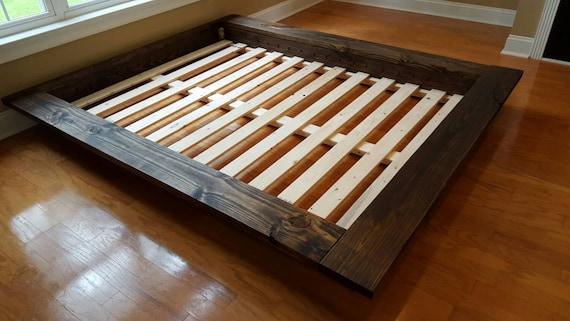 floating platform bed wide ledge bed loft bed low profile etsy. Black Bedroom Furniture Sets. Home Design Ideas