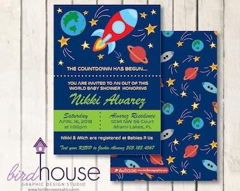 Space Ship Baby Shower Birthday Invitation
