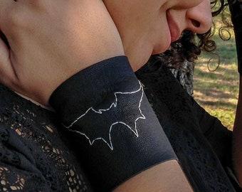 Austin Batworks Black Leather Laced Cuff/Bracelet - Unisex Steampunk Bohemian Burning Man Gypsy Pirate Punk