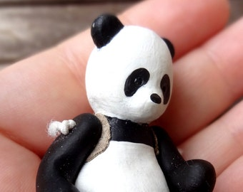 Little Panda Polymer clay doll totem animal articulated