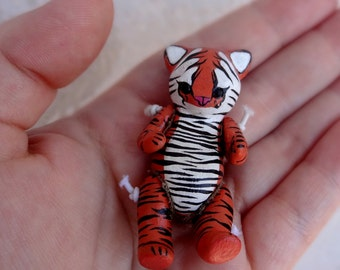 Ooak Little Tiger Doll polymer articulated toy totem animal
