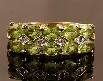 Vintage Peridot Diamond Gold Ring Size 7.5 (US) - P (UK) Engagement Ring