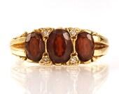 Vintage Garnet Diamond Ri...